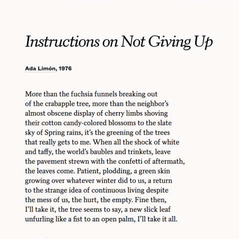 Intructions on not giving up